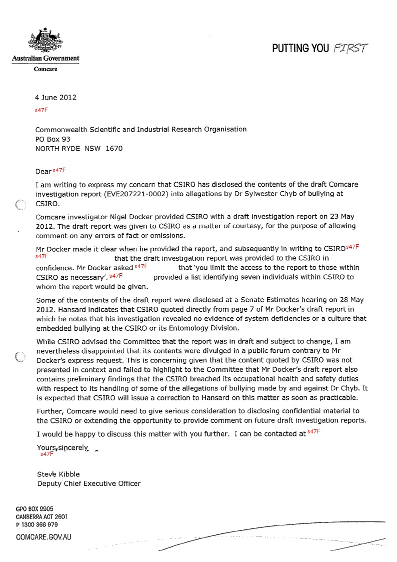 Comcare Letter Of Response To CSIROs Disclosure Of A